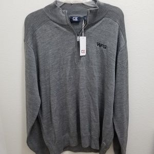 (NWT) CUTTER & BUCK Gray Douglas Half-Zip Mock